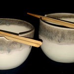 Eggshell/Turquoise Noodle Bowl