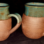 Dark Brown Green Mugs
